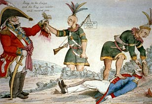 Scene of Indians scalping Americans for the British forces