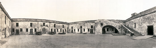 Inner courtyard of Fort Marion, Panorama