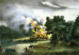 Burning of the town Pilak-li-ka-ha by Gen. Eustis