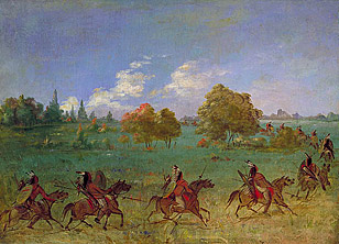 Comanche War Party on the March, Fully Dress, by George Catlin