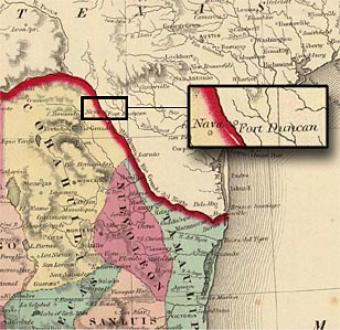 Map showing region of temporary Seminole and Black Seminole settlements in Mexico