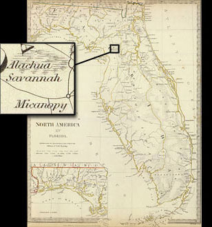 The Alachua Savannah, on map of Florida from 1834