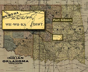 Wewoka, detail from 1894 map of Oklahoma