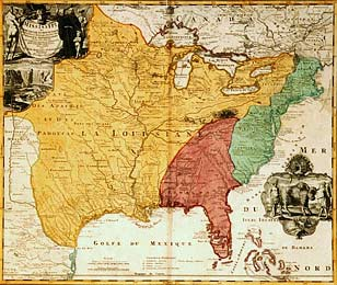 Map showing claims of European powers in America in 1730
