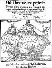 Title page of 1587 account of Drake's voyage