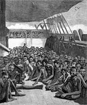 "Slaves on the deck of slave bark ""Wildfire"""