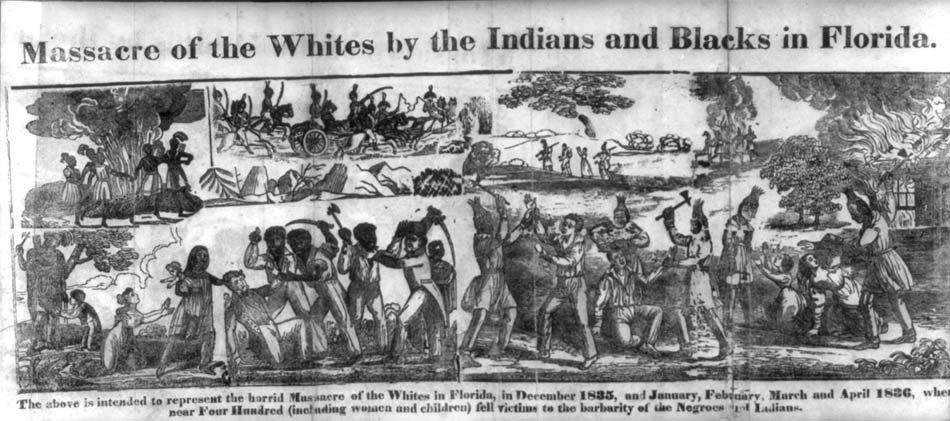 Massacre of the Whites by Blacks and Indians in Florida, 1836 engraving