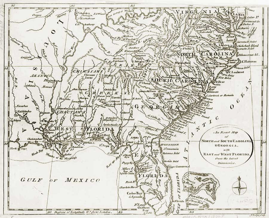 1810 map of Florida and surrounding states